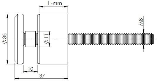 Taškinis stiklo tvirtinimas 35mm