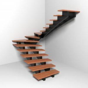 Laiptai su dviejų laiptasijų konstrukcija