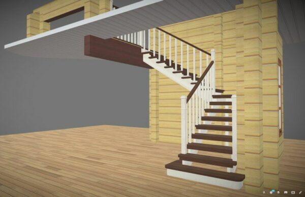 Paprasti mediniai laiptai su metaliniu karkasu